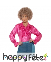 Chemise rose à volants, satinée pour femme