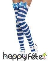 Collants rayés blanc bleu avec noeuds