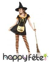 Costume robe citrouille de sorcière noire orange