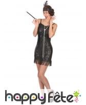 Costume robe courte Charleston noire pailletée, image 1