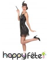 Costume robe courte Charleston noire pailletée, image 2