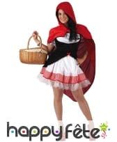 Costume robe courte de chaperon rouge pour femme, image 3