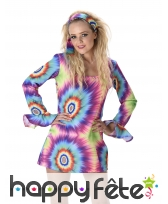 Costume robe courte psychédélique de hippie, image 1