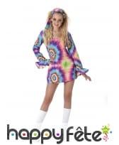 Costume robe courte psychédélique de hippie