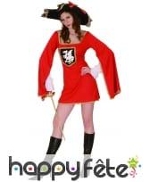 Costume robe courte rouge de femme mousquetaire