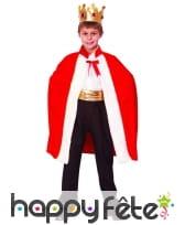 Cape rouge de roi avec couronne, pour enfant