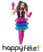 Costume robe de femme clown tutu coloré