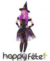 Costume robe de sorcière toiles multicolores