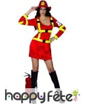 Costume rouge de femme pompier sexy, image 3
