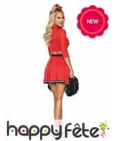 Costume rouge de pompom girl pour femme, image 1