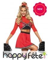 Costume rouge de pompom girl pour femme