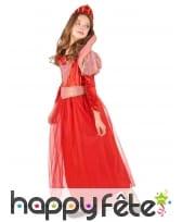 Costume rouge de reine médiévale pour fille, image 1