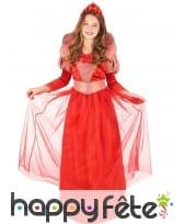 Costume rouge de reine médiévale pour fille