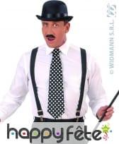 Cravate retro décorée de pois noir/blanc.