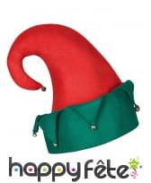 Chapeau rouge et vert de lutin de Noël