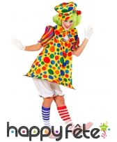 Costume robe évasée de clown à pois