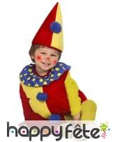 Costume rouge et jaune de petit clown pour bébé, image 1
