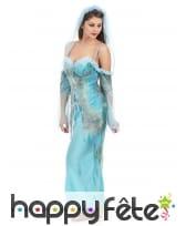 Costume robe longue turquoise effet déchiré, image 1