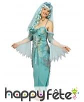 Costume robe longue turquoise effet déchiré, image 3