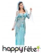 Costume robe longue turquoise effet déchiré