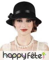 Chapeau rond noir année 20 pour femme