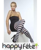 Collants rayés noir et blanc pour adulte., image 1