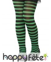 Collants rayés noir et vert pour enfant