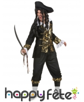 Costume robe noire de pirate imprimés dorés, image 1