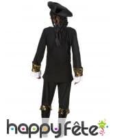 Costume robe noire de pirate imprimés dorés, image 2