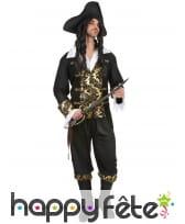 Costume robe noire de pirate imprimés dorés