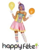 Costume robe pastel de femme clown