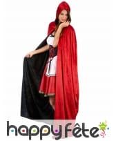Cape réversible rouge et noire effet velours, luxe, image 2