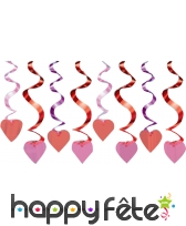 Coeurs rose, rouges et violets à suspendre 46cm