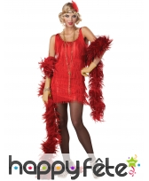 Coiffe robe rouge courte Charleston avec franges