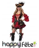 Costume robe rouge noire premium de pirate