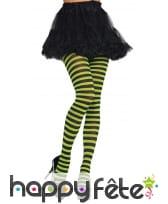Collants rayés vert et noirs pour femme