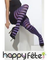 Collants rayés violets et noir taille unique