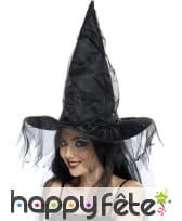 Chapeau sorcière avec filet noir