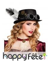 Chapeau Steampunk avec rouages et plumes