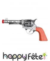 Colt sonore argenté et orange pour adulte 20cm