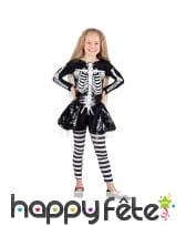 Costume squelette en jupe pour fillette
