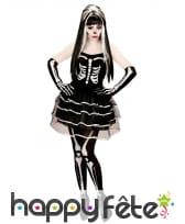 Costume squelette en tutu bouffant pour femme