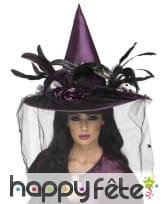 Chapeau sorcière mauve plumes, image 1