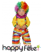 Costume salopette multicolore de bébé clown