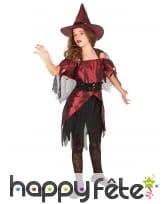 Costume sorcière rouge noir satiné pour fillette, image 1