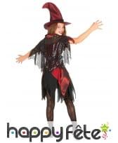 Costume sorcière rouge noir satiné pour fillette, image 2