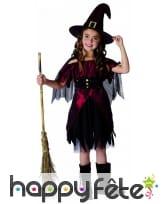 Costume sorcière rouge noir satiné pour fillette, image 3
