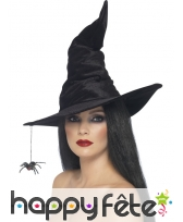 Chapeau sorcière velour noir araignée