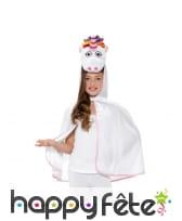 Cape tête de licorne pour enfant