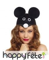 Chapeau tête de souris noire pour adulte